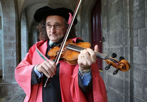 HIGH NOTE: Musician Martin Hayes, of The Gloaming, the Martin Hayes Quartet and the Tulla Céilí Band, at his honourary conferring by NUI Galway. Photograph: Aengus McMahon
