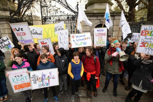 PICKET LINE:	Students, teachers and parents from North Wicklow Educate Together Secondary School protest outside Leinster House, Dublin. Photograph: Dara Mac Donaill/The Irish Times
