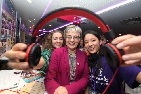 LISTEN UP: Roisin Desmondand Jiang O'Neill from Cork city with Minister for Children and Youth Affairs, Dr Katherine Zappone at Comhairle na nÓg where 460 young people, aged 12 -18, showcased their  work from the past year and presented how they are giving voice to protecting the rights of young people, and informing decision makers countrywide of what is important to young people in Ireland. Photograph: Shane O'Neill/SON Photographic