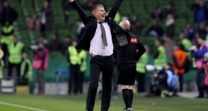 Dundalk manager Stephen Kenny celebrates the FAI Cup Final win over Cork City. Photograph: Ryan Byrne/Inpho