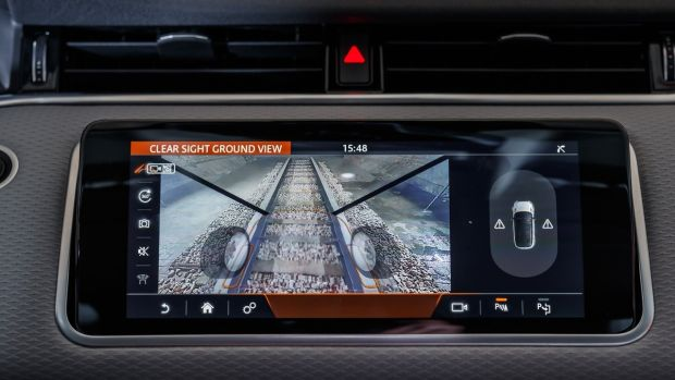 The Evoque is the debut car for Land Rover's 'transparent bonnet' technology, which uses forward and downward-facing cameras to project an image of what's under and immediately in front of the car onto a screen, allowing for easier manoeuvres in tight spots