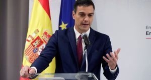 "Spanish prime minister Pedro Sánchez: ""My government will always defend the interests of Spain. If there are no changes, we will veto Brexit,"" he tweeted. Photograph: Juanjo Martin/EPA"