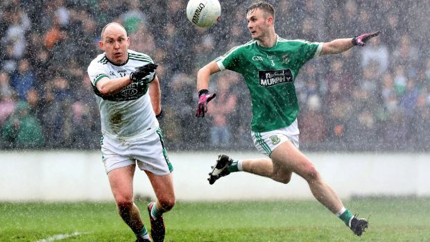 Portlaoise's Brian McCormack in action with Liam Healy of Moorefield in the senior Football Championship quarter-finals, at St Conleth's Park, Newbridge, earlier this month. Photograph: Bryan Keane/Inpho