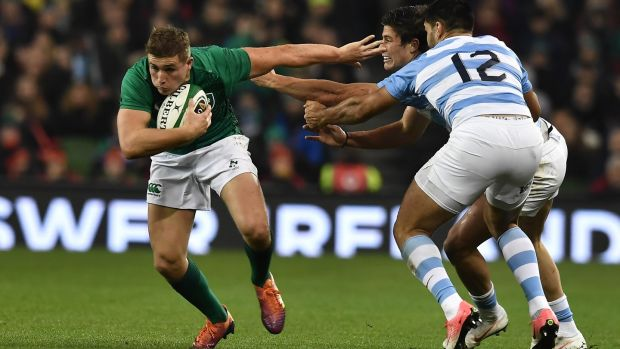 Jordan Larmour has announced himself on the world stage. Photograph: Charles McQuillan/Getty Images