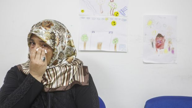Amena Hassan from Aleppo wants to go to Europe or Canada where her son Hajji can get better medical treatment. Photograph: European Commission/Eren Aytu