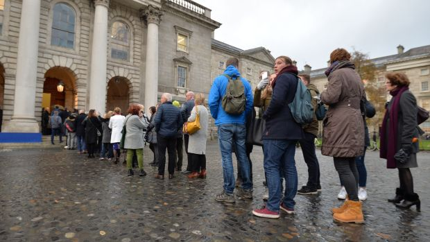 A queue for the memorial service and celebration of the life of John Curran who was killed in Cape Town, South Africa, on November 6th. Photograph: Alan Betson / The Irish Times