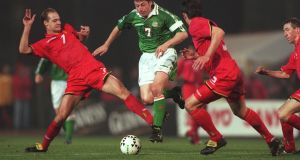 Republic of Ireland's Andy Townsend in action against Belgium in November 1997. Photograph: Billy Stickland/Inpho