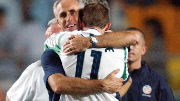 Mick McCarthy consoles Kevin Kilbane in 2002: his salary will be about €1.2 million a year, with significant bonuses built in. Photograph: PA Photo/Toby Melville