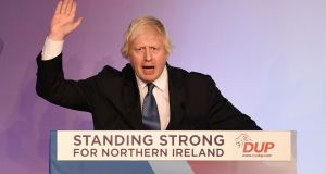 Boris Johnson speaking at the DUP annual conference  in Belfast. Photograph: Michael Cooper/PA