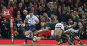 Wales' Liam Williams scores his side's second try during the autumn international against South Africa at The Principality Stadium in Cardiff. Photograph: David Davies/PA Wire