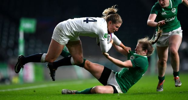 England s Lydia Thompson is tackled by Lauren Delany of Ireland during the  autumn international at Twickenham dd5b6af7e