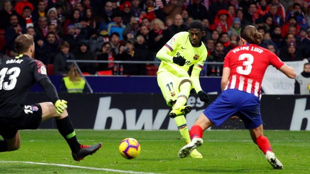 Barcelona's Ousmane Dembele scores a late equaliser in the La Liga game against Atletico Madrid at the Wanda Metropolitano in Madrid. Photograph: Paul Hanna/Reuters