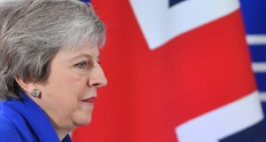 British  prime minister Theresa May arriving to give a press conference after a special meeting in Brussels of the European Council to endorse the draft Brexit withdrawal agreement. Photograph: Getty Images