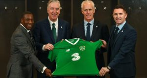 Terry Connor, John Delaney, Mick McCarthy and Robbie Keane at the unveiling of the new Ireland manager in Dublin on Sunday. Photo: FAI Twitter