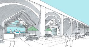 Illustraton of a market area under the arches of the viaduct, with the addition of freestanding stall structures.