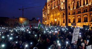 People attend a rally for the Soros-founded Central European University, in front of Hungary's parliament building in Budapest on November 24th, 2018. Photograph: Bernadett Szabo/Reuters