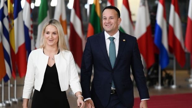The Taoiseach Leo Varadkar and Minister of State of State for European Affairs Helen McEntee arrive for a special meeting of the European Council to endorse the draft Brexit withdrawal agreement in Brussels. Photograph: Philippe Lopez/ AFP/Getty Images