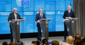 European Commission President Jean-Claude Juncker, European Union Council President Donald Tusk, and EU chief Brexit negotiator Michel Barnier give a press conference at the end of the European Council meeting in Brussels. Photograph: Olivier Hoslet/EPA