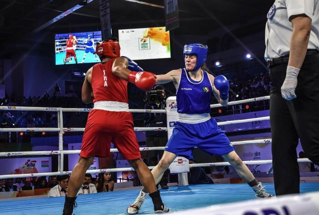 Ireland's Kellie Harrington in action against Sudaporn Seesondee of Thailand in the final of the lighweight division at the Women's World Championships in New Delhi, India. Photograph: AIBA