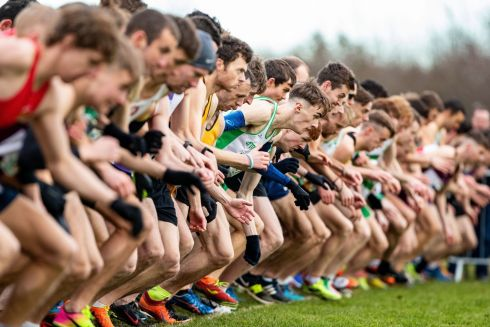 ON YOUR MARKS: Athletes at the start of the senior mens race of the 2018 Irish Life Health National Senior Cross Country Championships at the National Sports Campus, Dublin. Photograph: Bryan Keane/INPHO
