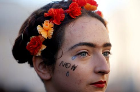RALLY: A woman attends a rally against gender-based and sexual violence against women in Marseille, France, November 24, 2018. Photograph: Jean-Paul Pelissier/Reuters