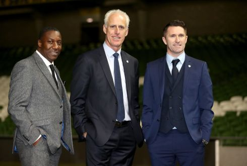 New Republic of Ireland manager Mick McCarthy (centre) with new assistant coaches, Terry Connor (left), and Robbie Keane following a press conference at the Aviva Stadium on Sunday, November 25th. Photograph: Niall Carson/PA Wire