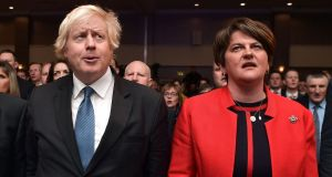 Conservative MP Boris Johnson and DUP leader Arlene Foster  at the DUP annual conference  in Belfast. Photograph: Charles McQuillan/ Getty Images