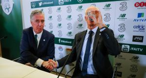 Newly appointed Republic of Ireland manager Mick McCarthy and  FAI chief executive John Delaney at a press conference in the  Aviva Stadium on Sunday. Photograph: Ryan Byrne/Inpho