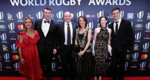Jessica Moloney with partner Peter O'Mahoney, Rory Best with wife Jodie Best and Laura and Johnny Sexton at the 2018 World Rugby Awards in Monte Carlo. Photo: Dan Sheridan/Inpho