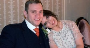 Matthew Hedges with his wife Daniela Tejada. Photograph: Daniela Tejada/PA