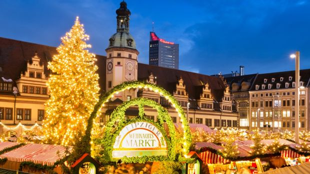 Christmas market at Leipzig's Market Place