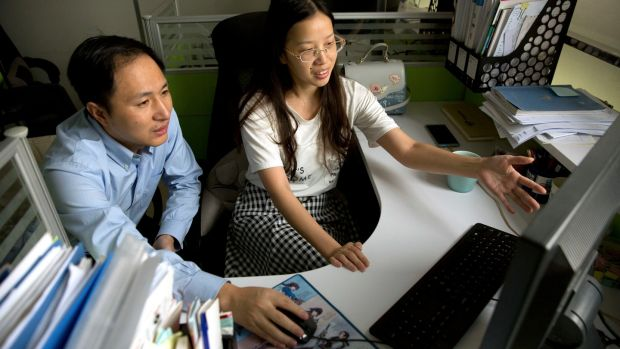 He Jiankui and Zhou Xiaoqin work at a laboratory in Shenzhen. Photograph: Mark Schiefelbein/AP