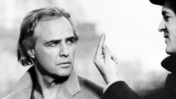 In this file photo taken on March 5th, 1972 US actor Marlon Brando is directed in Paris during the filming of 'Last tango in Paris' by Italian writer-director Bernardo Bertolucci (right). Photograph: AFP/Getty Images