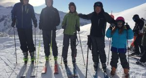 Sarah Walsh (centre) with her husband Charles Dowd and their children, from left, Jonathan, William and Grace on their DIY ski holiday.