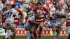 Andy Farrell carries for Wigan Warriors against Castleford Tigers in 2002. Photograph: Alex Livesey/Getty