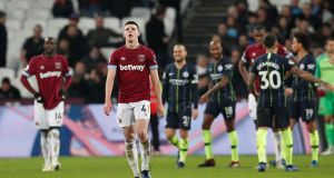 West Ham are willing to wait until the end of the year before resuming contract talks with Declan Rice. Photograph: David Klein/Reuters