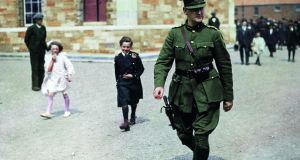 Michael Collins leaves a Requiem service at Portobello Barracks in 1922. Photograph: Popperfoto/Getty Images