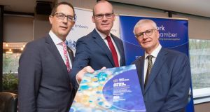 Tánaiste Simon Coveney TD launches a new joint report from the British embassy Dublin and Cork Chamber to promote economic opportunity between UK and south west Ireland.  Above, British  ambassador to Ireland, Robin Barnett and Conor Healy, Cork Chamber CEO. Photograph: Darragh Kane