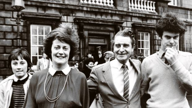 Mary O'Rourke on her first day in the Dáil with son Aengus, husband Enda and son Feargal after she was elected as a TD Longford-Westmeath in the 1982 general election.