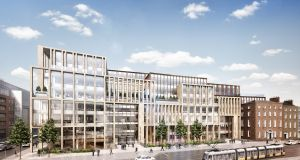 A computer-generated image of the planned new office development by Hibernia Reit at Harcourt Square in central Dublin
