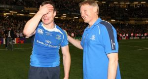 Joe Schmidt with Brian O'Driscoll after Leinster's 2011 Heineken Cup final win over Northampton. Photograph: Billy Stickland/Inpho