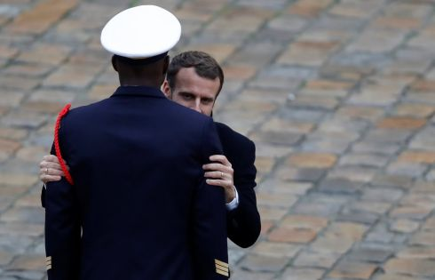 French president Emmanuel Macron attends a prise d'armes military ceremony at the Invalides in Paris. Photograph: Gonzalo Fuentes/Reuters