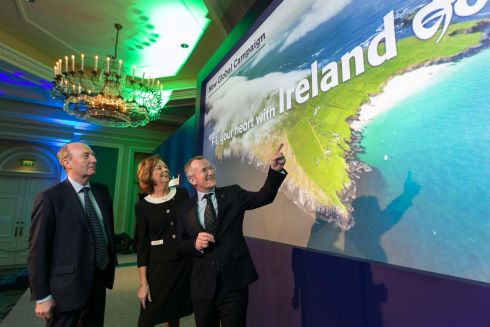 Additional €10m to be invested in marketing Ireland overseas in 2019, bringing total spend to €45m. Pictured at the Tourism Ireland event are Minister for Tourism Shane Ross, Joan O'Shaughnessy TD and Tourism Ireland chairman Niall Gibbons. Photograph: Shane O'Neill