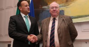 Leo Varadkar  meets  the Grand Secretary of the Orange Lodge, Rev Mervyn Gibson at Government Buildings. Photograph:  Niall Carson/PA Wire