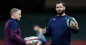 Ireland head coach Joe Schmidt  with his successor, current defence coach Andy Farrell. Photograph: Stu Forster/Getty Images