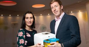 Vodafone Ireland IoT country manager Debbie Power and HealthBeacon co-founder chief technical officer Kieran Daly.
