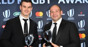 World Rugby  Player of the Year  Johnny Sexton and Ireland  captain Rory Best, with the  Team of the Year award, at  the World Rugby Awards  at the Monte-Carlo Sporting Club in Monaco. Photograph: Yann Coatsaliou/AFP/Getty Images
