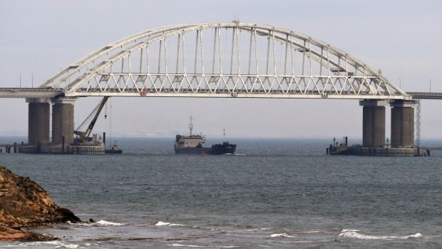 Russia's recently completed bridge, which spans the Kerch Strait, connecting Russia to Crimea. Photograph: EPA
