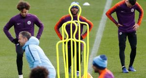 Manchester City's Raheem Sterling trains ahead of his side's trip to play Lyon. Photograph: Martin Rickett/PA