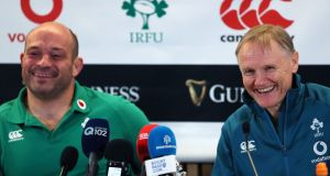 Ireland head coach Joe Schmidt (right) and captain Rory Best speak after the Guinness Series win over New Zealand. Photo: Brian Lawless/PA Wire